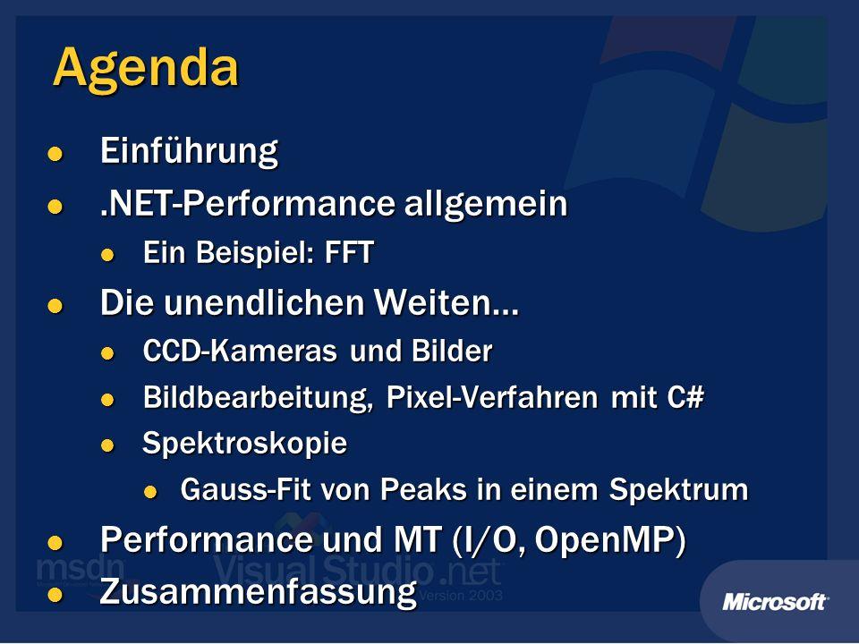 Agenda Einführung Einführung.NET-Performance allgemein.NET-Performance allgemein Ein Beispiel: FFT Ein Beispiel: FFT Die unendlichen Weiten… Die unend