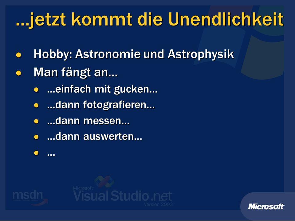 …jetzt kommt die Unendlichkeit Hobby: Astronomie und Astrophysik Hobby: Astronomie und Astrophysik Man fängt an… Man fängt an… …einfach mit gucken… …e