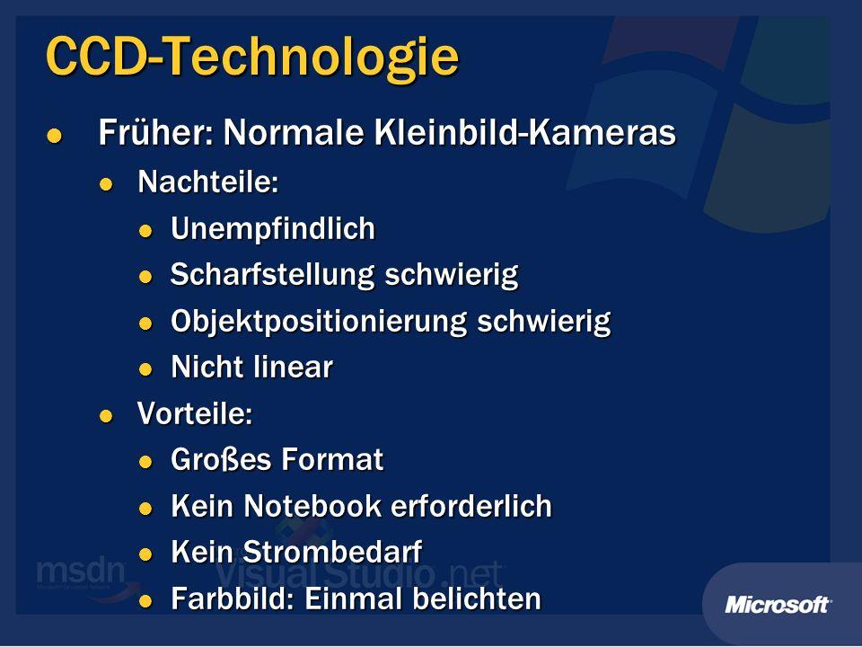 CCD-Technologie Früher: Normale Kleinbild-Kameras Früher: Normale Kleinbild-Kameras Nachteile: Nachteile: Unempfindlich Unempfindlich Scharfstellung s