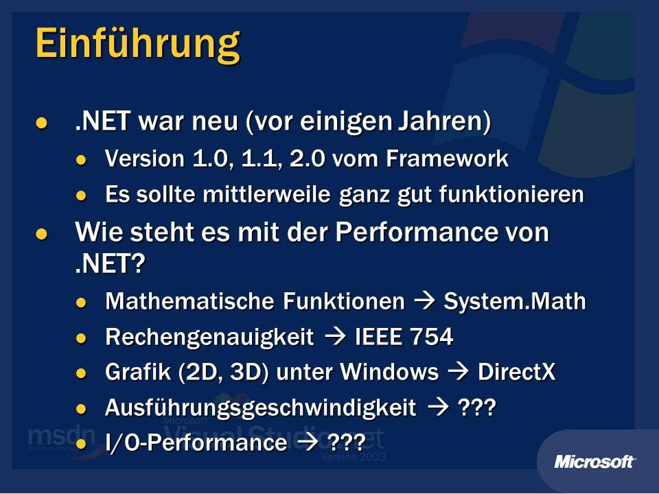 Einführung.NET war neu (vor einigen Jahren).NET war neu (vor einigen Jahren) Version 1.0, 1.1, 2.0 vom Framework Version 1.0, 1.1, 2.0 vom Framework E