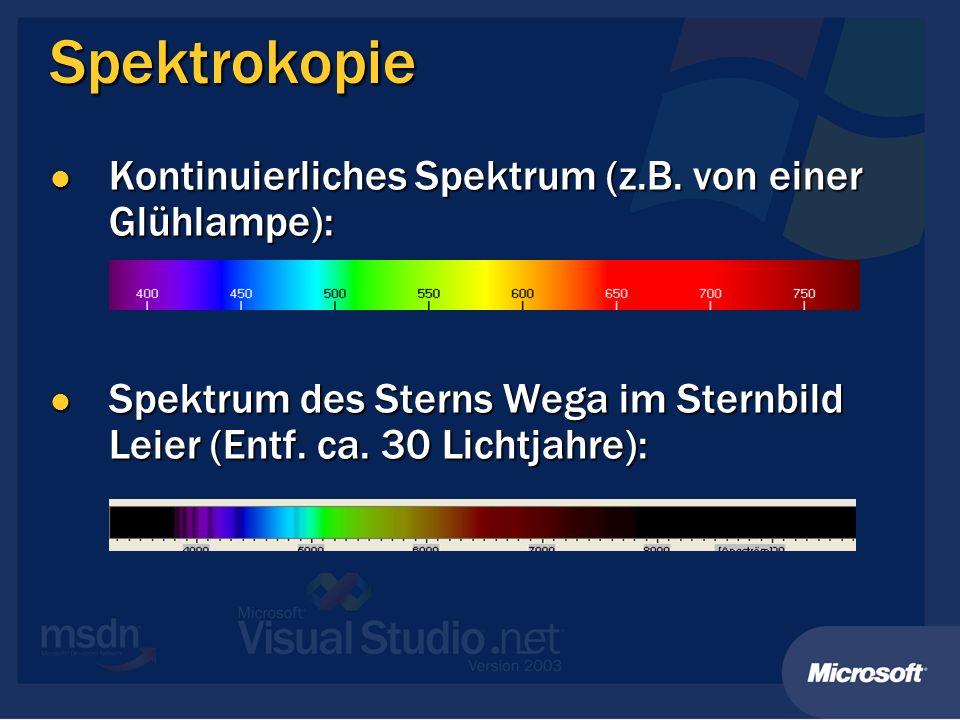 Spektrokopie Kontinuierliches Spektrum (z.B. von einer Glühlampe): Kontinuierliches Spektrum (z.B. von einer Glühlampe): Spektrum des Sterns Wega im S