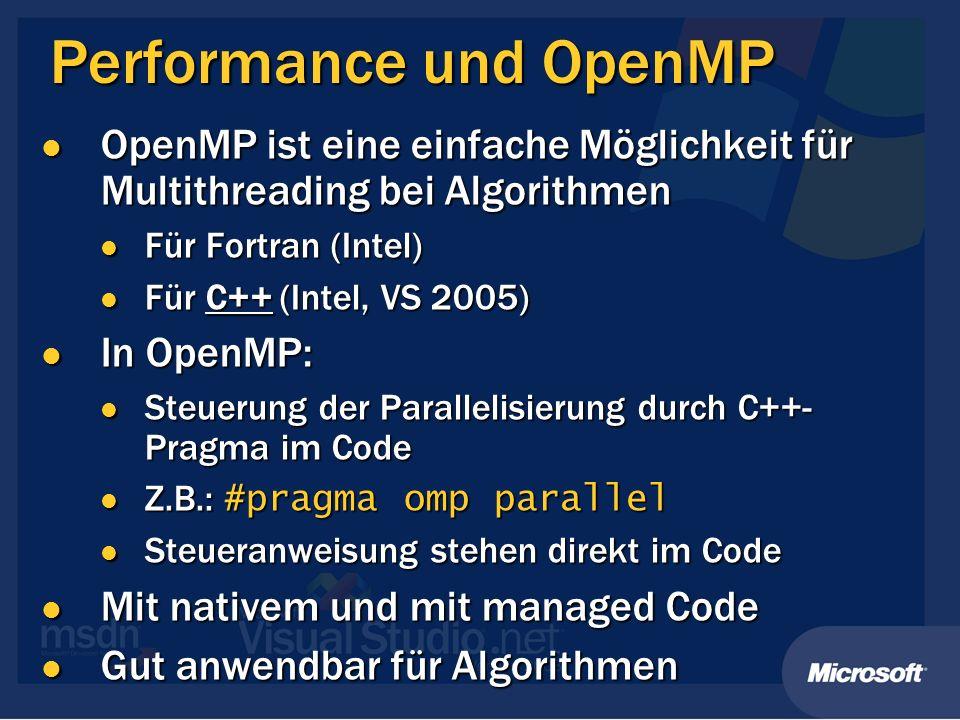 Performance und OpenMP OpenMP ist eine einfache Möglichkeit für Multithreading bei Algorithmen OpenMP ist eine einfache Möglichkeit für Multithreading