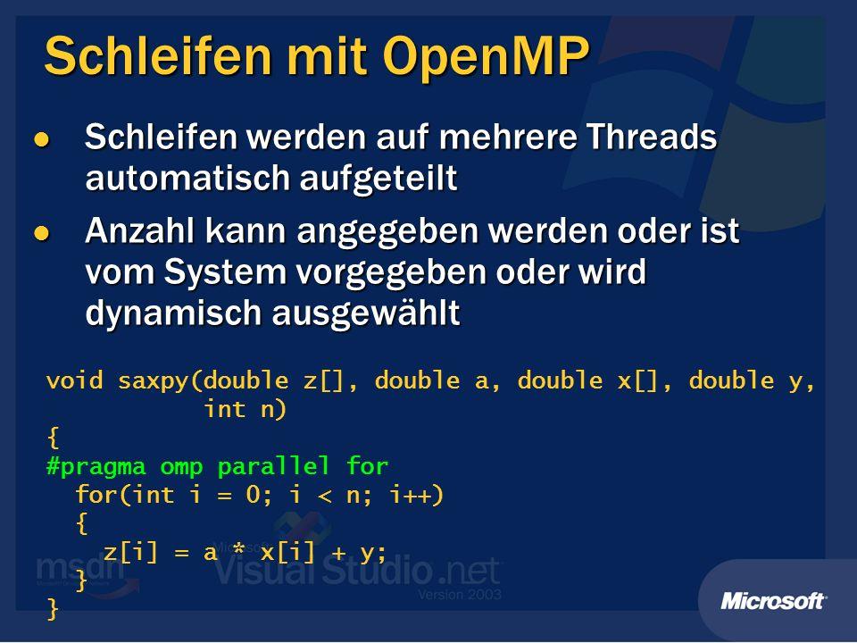 Schleifen mit OpenMP Schleifen werden auf mehrere Threads automatisch aufgeteilt Schleifen werden auf mehrere Threads automatisch aufgeteilt Anzahl ka