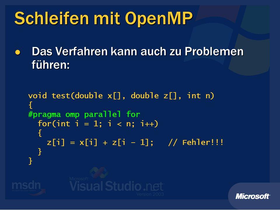 Schleifen mit OpenMP Das Verfahren kann auch zu Problemen führen: Das Verfahren kann auch zu Problemen führen: void test(double x[], double z[], int n