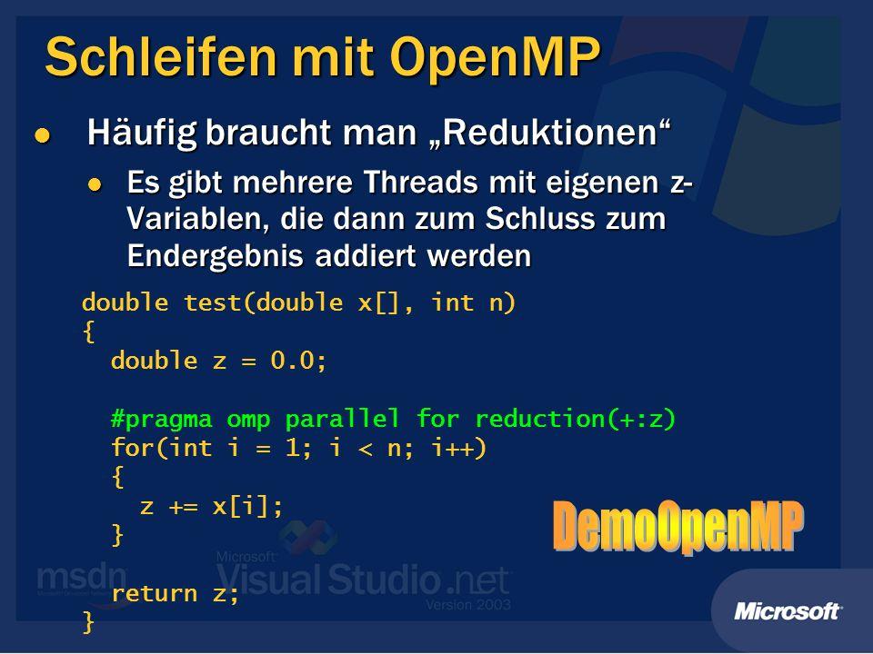 Schleifen mit OpenMP Häufig braucht man Reduktionen Häufig braucht man Reduktionen Es gibt mehrere Threads mit eigenen z- Variablen, die dann zum Schl