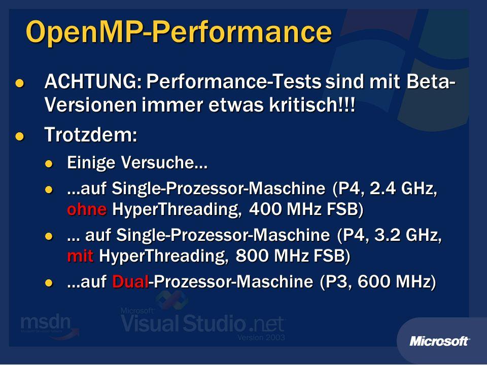OpenMP-Performance ACHTUNG: Performance-Tests sind mit Beta- Versionen immer etwas kritisch!!! ACHTUNG: Performance-Tests sind mit Beta- Versionen imm