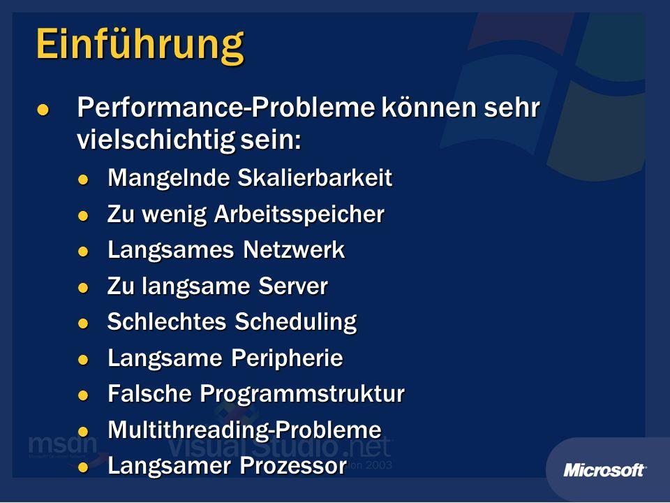 Einführung Performance-Probleme können sehr vielschichtig sein: Performance-Probleme können sehr vielschichtig sein: Mangelnde Skalierbarkeit Mangelnd