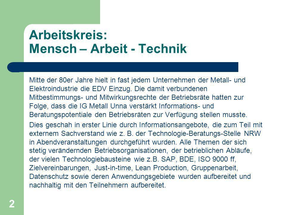 2 Arbeitskreis: Mensch – Arbeit - Technik Mitte der 80er Jahre hielt in fast jedem Unternehmen der Metall- und Elektroindustrie die EDV Einzug.