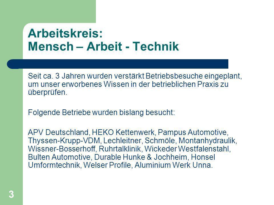 3 Arbeitskreis: Mensch – Arbeit - Technik Seit ca.