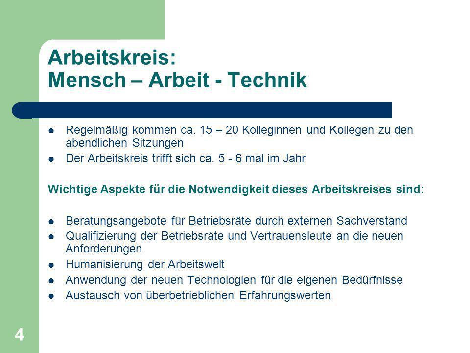 4 Arbeitskreis: Mensch – Arbeit - Technik Regelmäßig kommen ca.