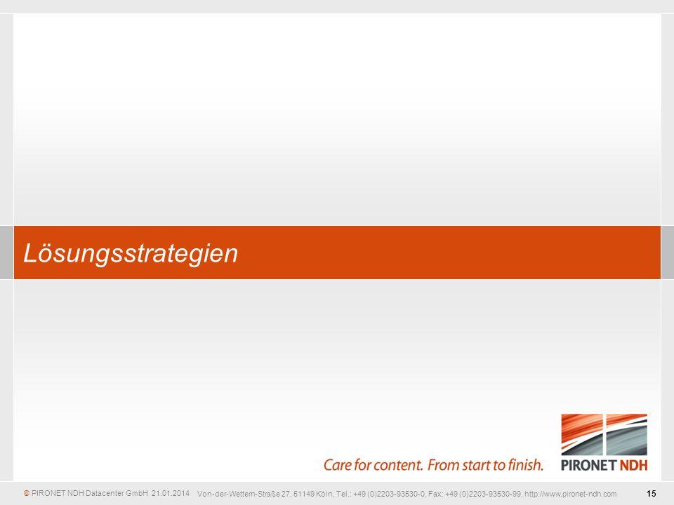 © PIRONET NDH Datacenter GmbH 15 21.01.2014 Von-der-Wettern-Straße 27, 51149 Köln, Tel.: +49 (0)2203-93530-0, Fax: +49 (0)2203-93530-99, http://www.pironet-ndh.com Lösungsstrategien