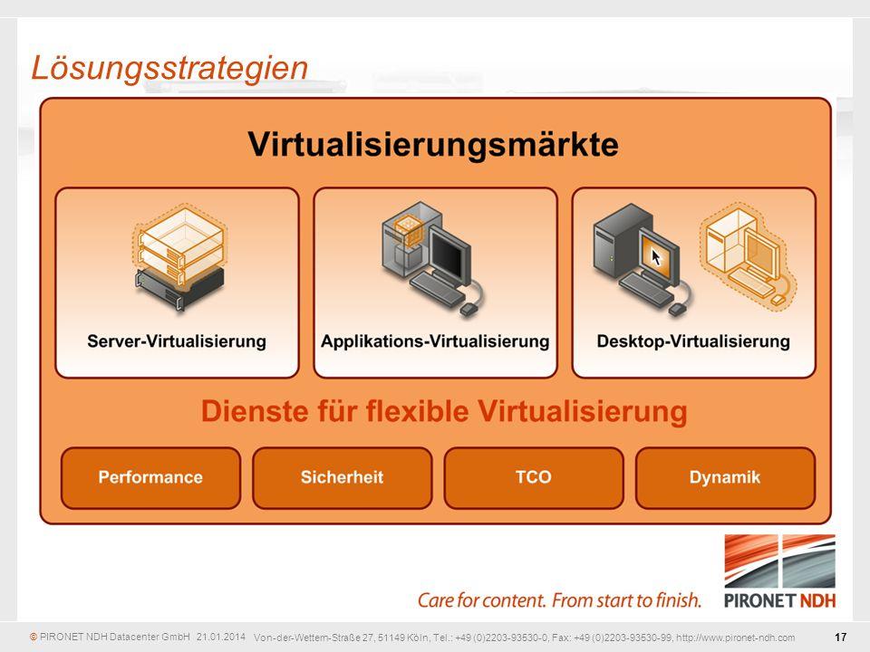 © PIRONET NDH Datacenter GmbH 21.01.2014 17 Von-der-Wettern-Straße 27, 51149 Köln, Tel.: +49 (0)2203-93530-0, Fax: +49 (0)2203-93530-99, http://www.pironet-ndh.com Lösungsstrategien