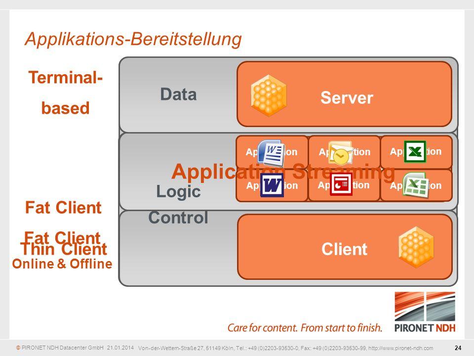 © PIRONET NDH Datacenter GmbH 21.01.2014 24 Von-der-Wettern-Straße 27, 51149 Köln, Tel.: +49 (0)2203-93530-0, Fax: +49 (0)2203-93530-99, http://www.pironet-ndh.com Fat Client Online & Offline Thin Client Application Server Client Data Logic Control Application Application Streaming Applikations-Bereitstellung Fat Client Terminal- based