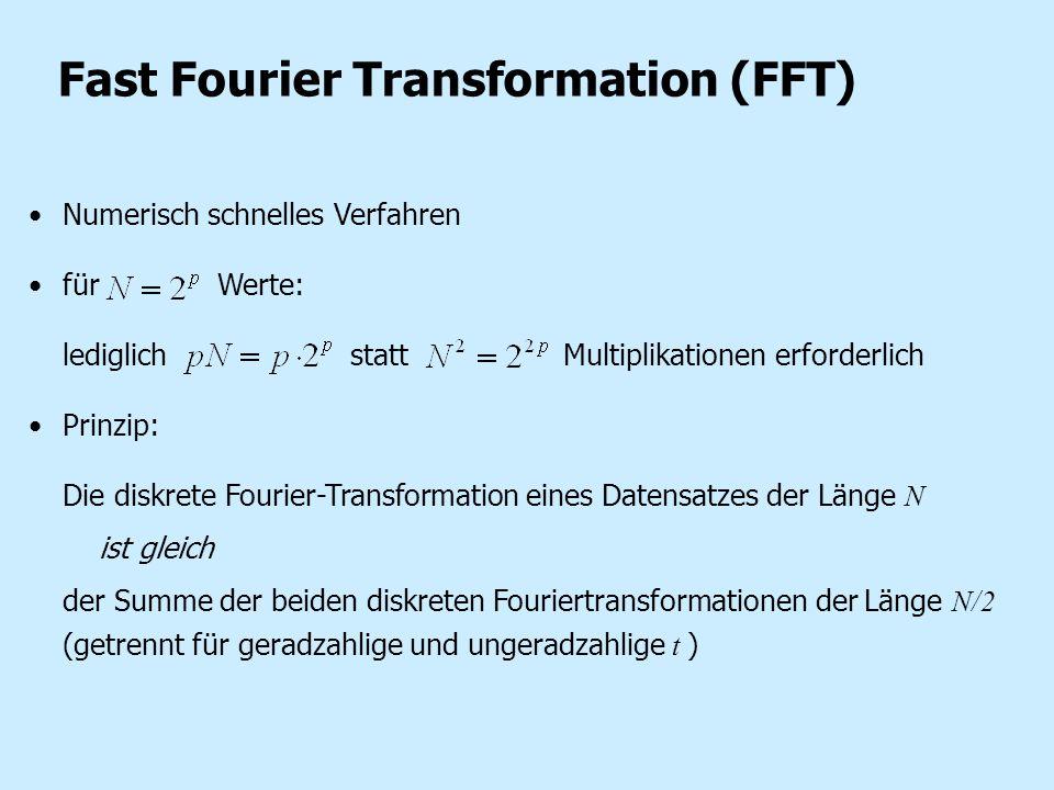 Fast Fourier Transformation (FFT) Numerisch schnelles Verfahren für Werte: lediglich statt Multiplikationen erforderlich Prinzip: Die diskrete Fourier