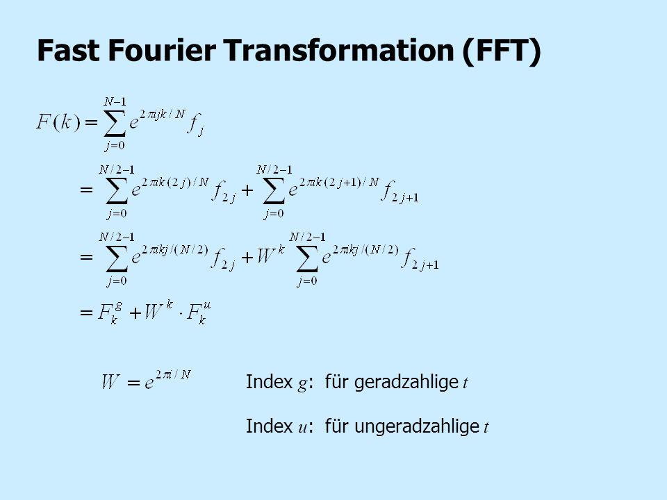 Fast Fourier Transformation (FFT) Index g : für geradzahlige t Index u : für ungeradzahlige t