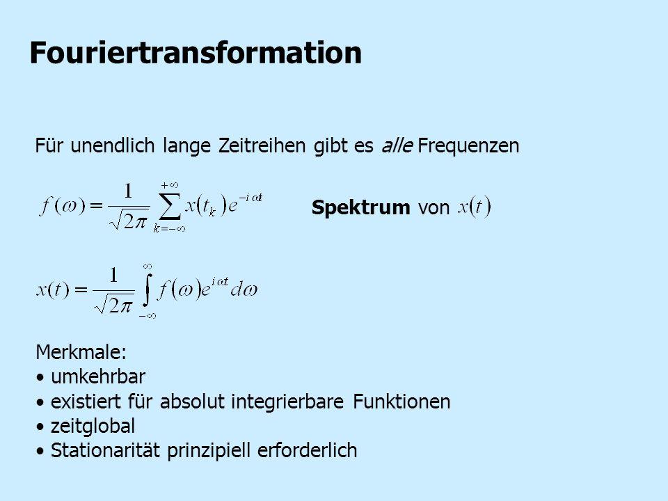 Fouriertransformation Für unendlich lange Zeitreihen gibt es alle Frequenzen Merkmale: umkehrbar existiert für absolut integrierbare Funktionen zeitgl