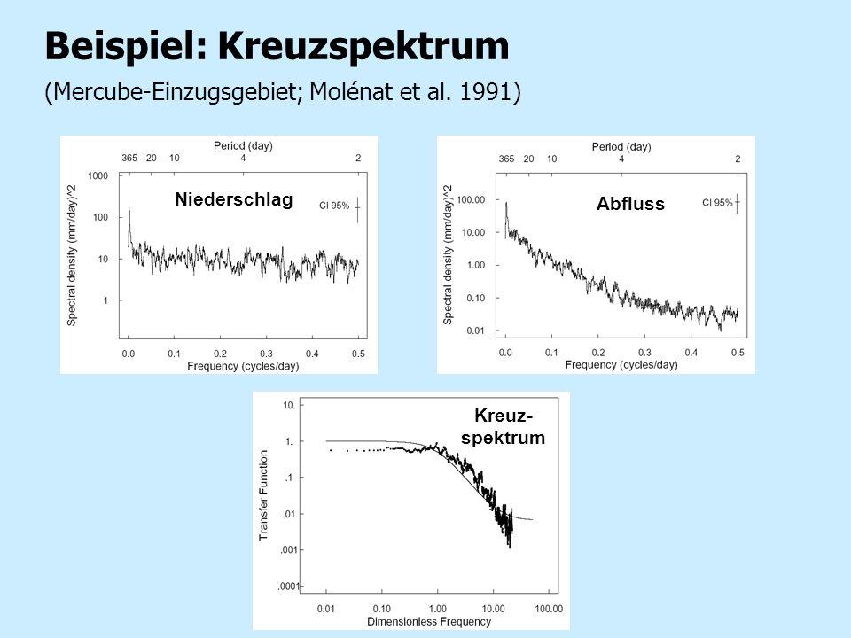 Beispiel: Kreuzspektrum (Mercube-Einzugsgebiet; Molénat et al. 1991) Niederschlag Abfluss Kreuz- spektrum