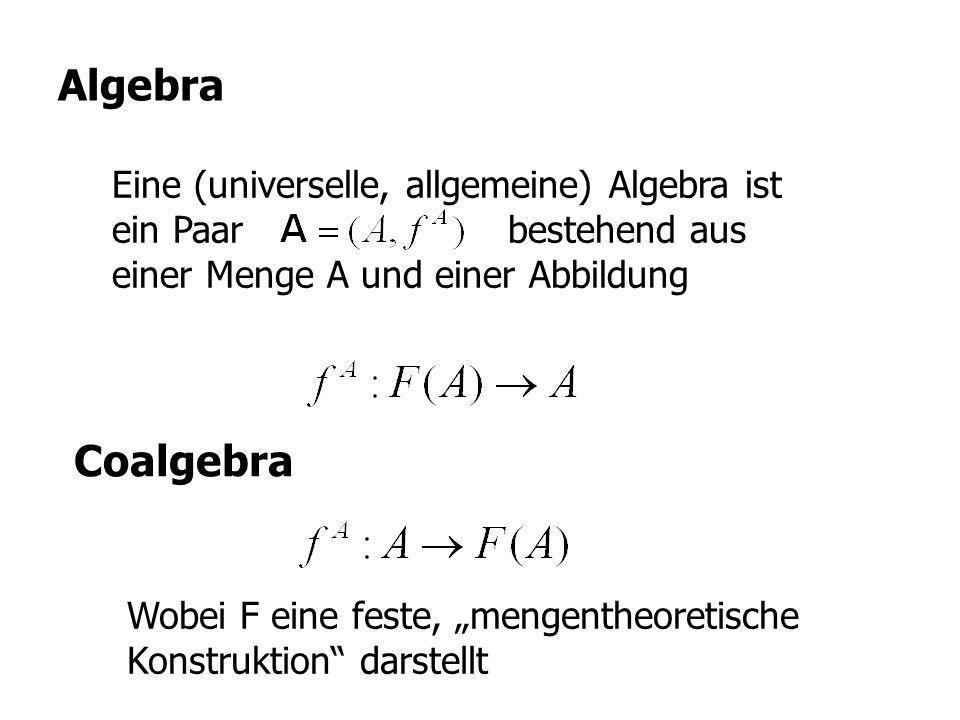Eine (universelle, allgemeine) Algebra ist ein Paar bestehend aus einer Menge A und einer Abbildung Algebra Coalgebra Wobei F eine feste, mengentheore