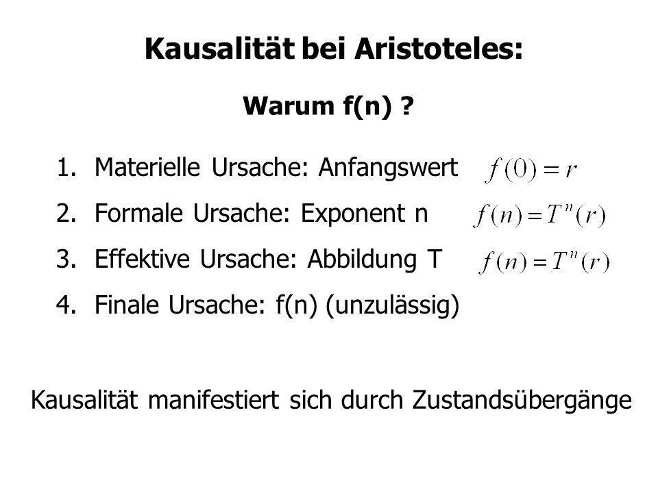 Kausalität bei Aristoteles: 1.Materielle Ursache: Anfangswert 2.Formale Ursache: Exponent n 3.Effektive Ursache: Abbildung T 4.Finale Ursache: f(n) (u