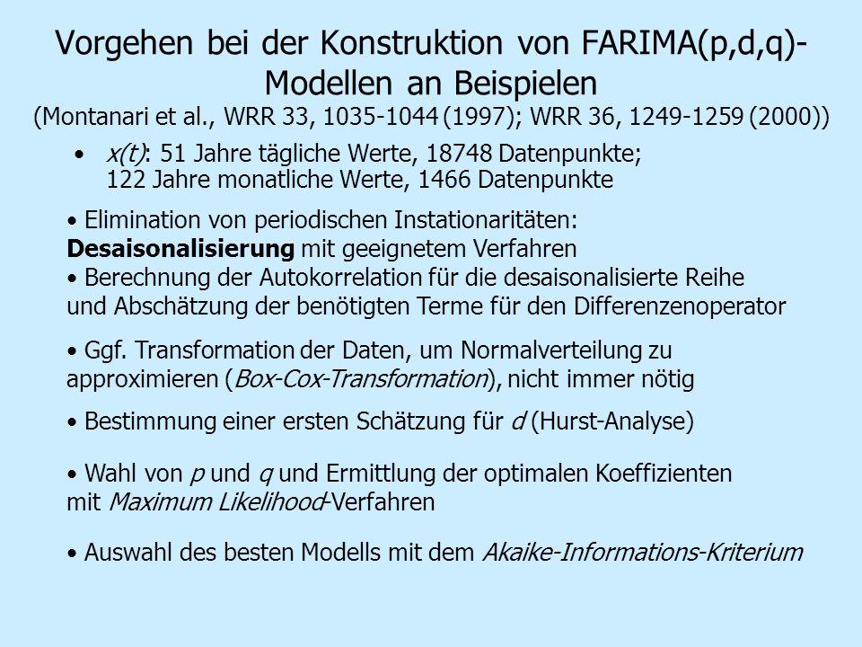 Vorgehen bei der Konstruktion von FARIMA(p,d,q)- Modellen an Beispielen (Montanari et al., WRR 33, 1035-1044 (1997); WRR 36, 1249-1259 (2000)) x(t): 5