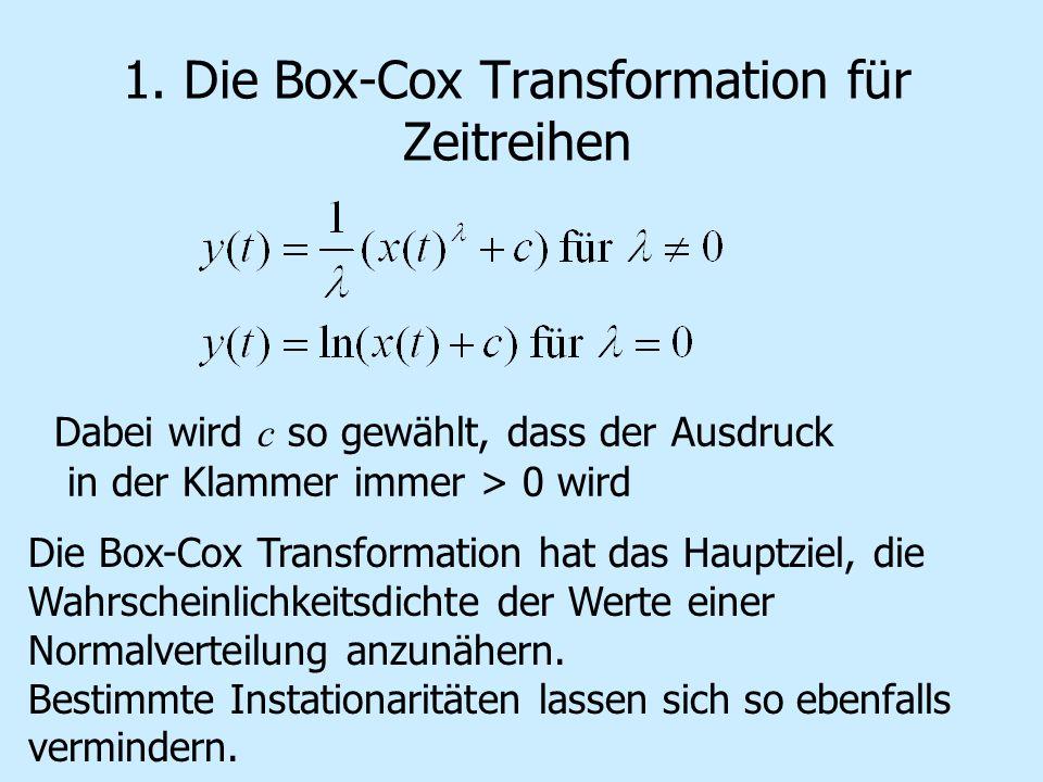Dabei wird c so gewählt, dass der Ausdruck in der Klammer immer > 0 wird Die Box-Cox Transformation hat das Hauptziel, die Wahrscheinlichkeitsdichte d