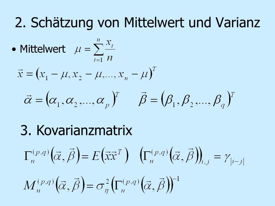 2. Schätzung von Mittelwert und Varianz Mittelwert 3. Kovarianzmatrix