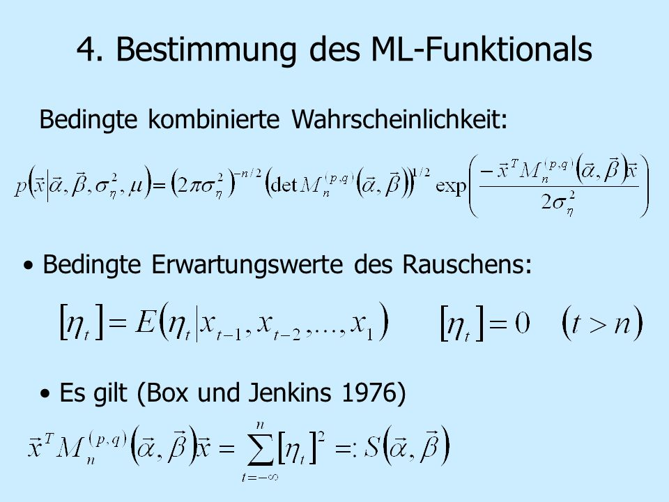 4. Bestimmung des ML-Funktionals Bedingte kombinierte Wahrscheinlichkeit: Bedingte Erwartungswerte des Rauschens: Es gilt (Box und Jenkins 1976)