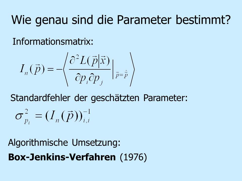 Wie genau sind die Parameter bestimmt? Informationsmatrix: Standardfehler der geschätzten Parameter: Algorithmische Umsetzung: Box-Jenkins-Verfahren (