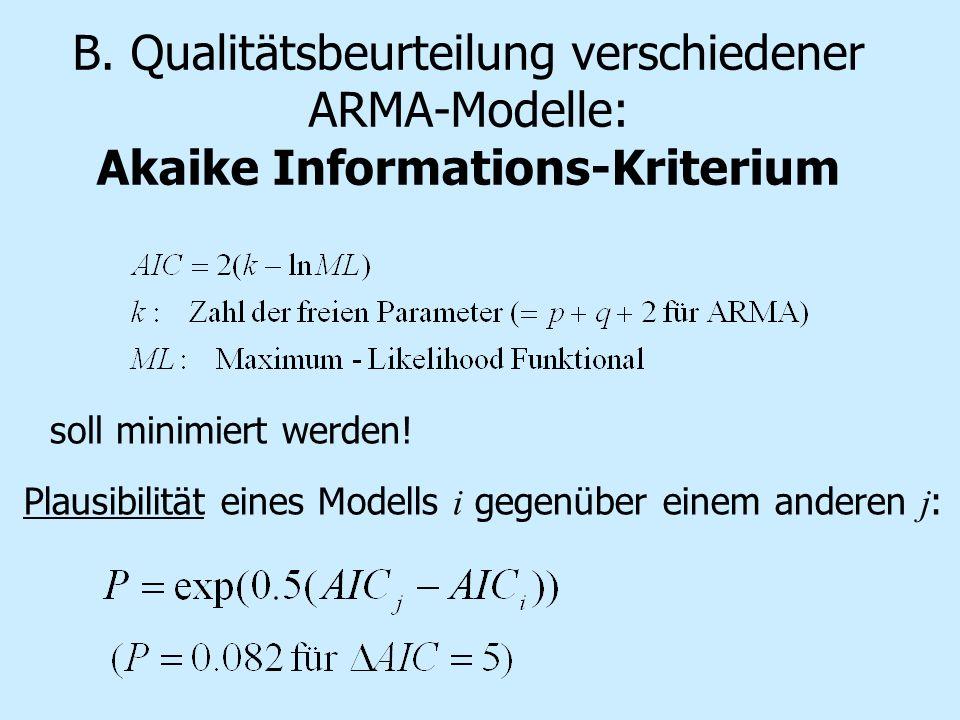 soll minimiert werden! Plausibilität eines Modells i gegenüber einem anderen j : B. Qualitätsbeurteilung verschiedener ARMA-Modelle: Akaike Informatio