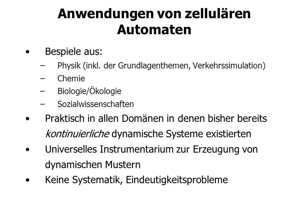 Anwendungen von zellulären Automaten Bespiele aus: –Physik (inkl.