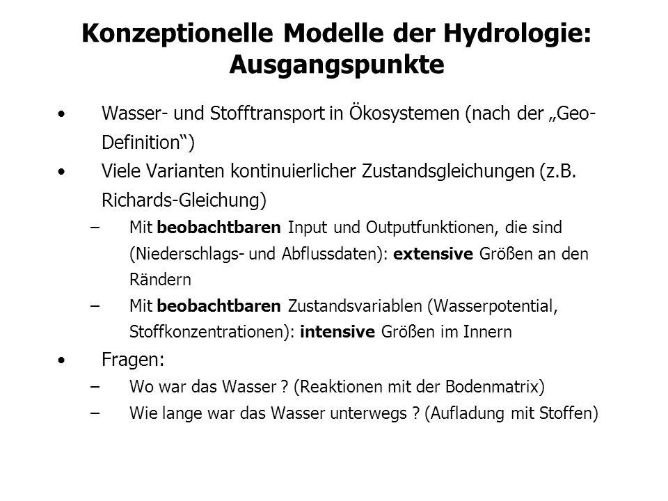 Konzeptionelle Modelle der Hydrologie: Problemstellung Physikalische explizite kontinuierliche Transportmodelle sind –verbreitet –(oft zu) aufwändig –Sehr schwer (gar nicht?) validierbar –dem tatsächlichen Messaufwand nicht angemessen –nicht auf allen Skalen gültig Andere Konzepte (diese Stunde: konzeptionelle Modelle) –z.B.