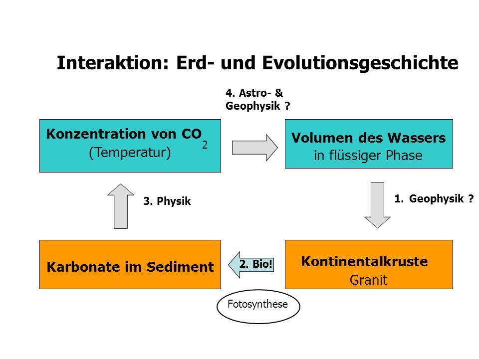 Interaktion: Erd- und Evolutionsgeschichte Volumen des Wassers in flüssiger Phase Kontinentalkruste Granit Karbonate im Sediment Konzentration von CO
