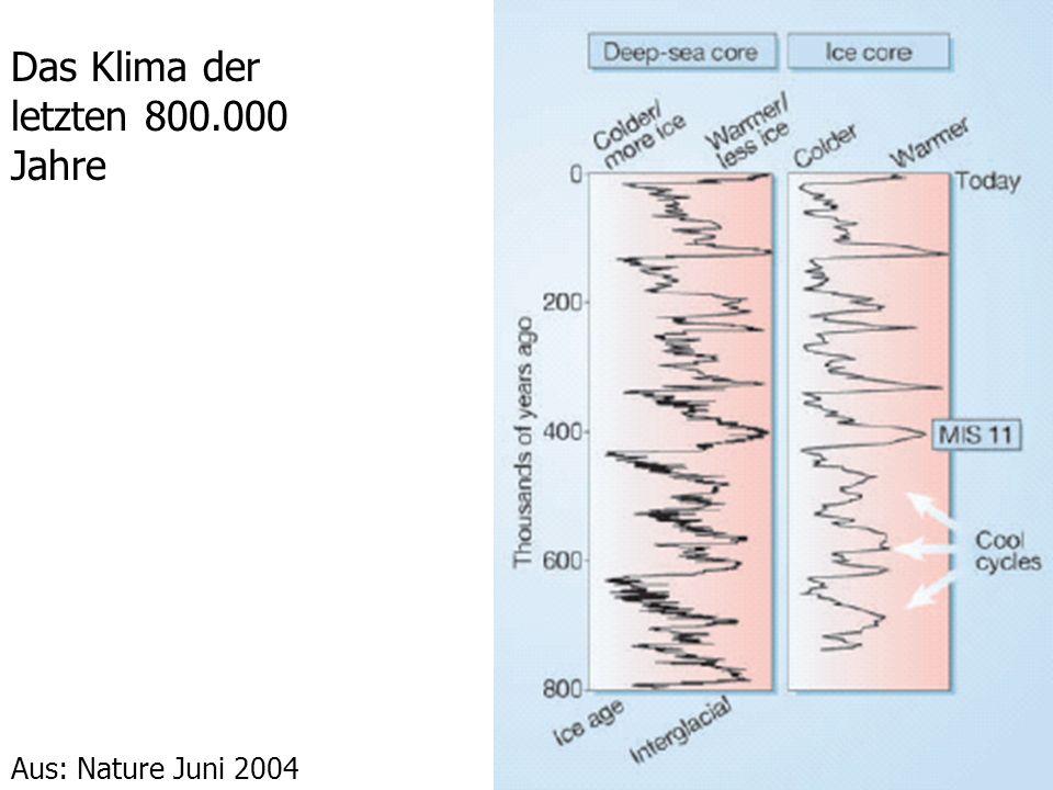 Das Klima der letzten 800.000 Jahre Aus: Nature Juni 2004