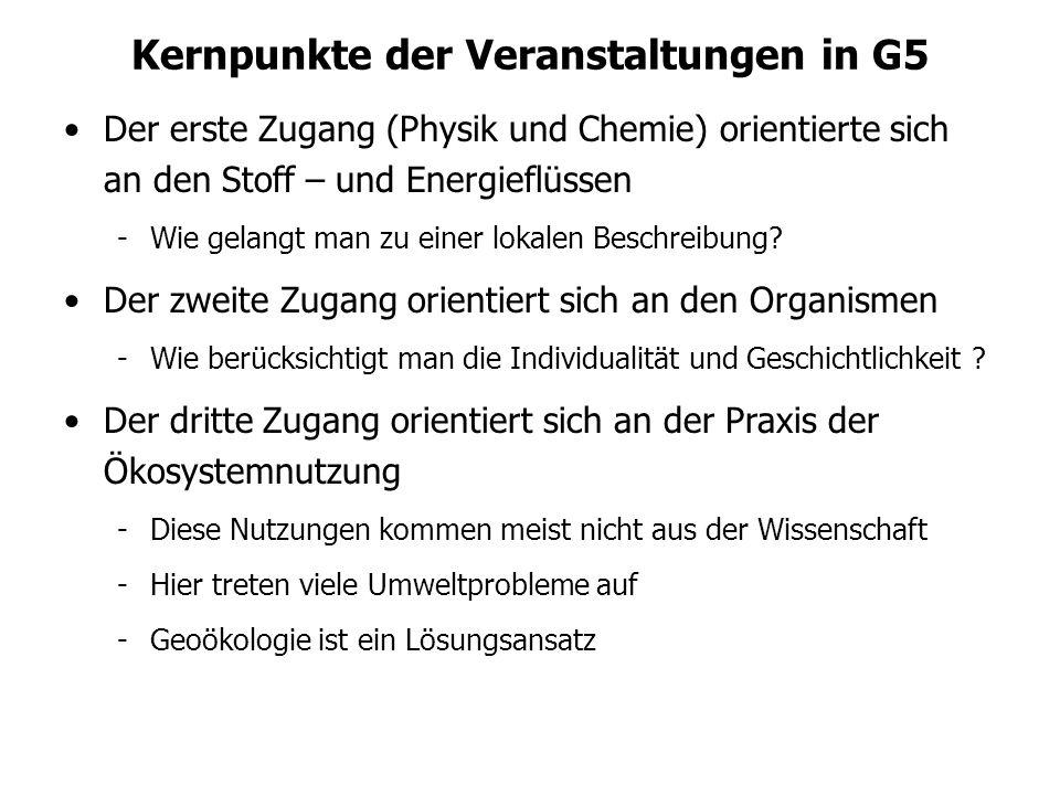 Kernpunkte der Veranstaltungen in G5 Der erste Zugang (Physik und Chemie) orientierte sich an den Stoff – und Energieflüssen -Wie gelangt man zu einer