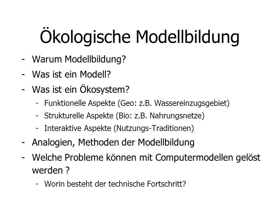Ökologische Modellbildung -Warum Modellbildung? -Was ist ein Modell? -Was ist ein Ökosystem? -Funktionelle Aspekte (Geo: z.B. Wassereinzugsgebiet) -St