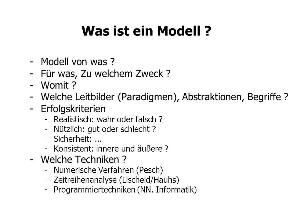 Was ist ein Modell ? -Modell von was ? -Für was, Zu welchem Zweck ? -Womit ? -Welche Leitbilder (Paradigmen), Abstraktionen, Begriffe ? -Erfolgskriter