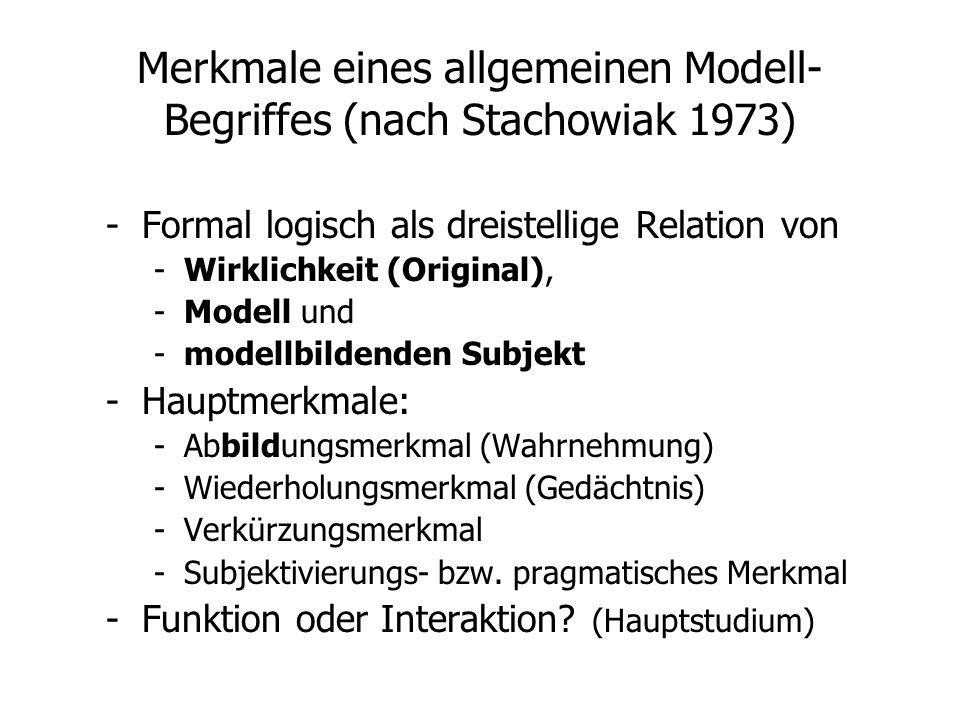 Merkmale eines allgemeinen Modell- Begriffes (nach Stachowiak 1973) -Formal logisch als dreistellige Relation von -Wirklichkeit (Original), -Modell un