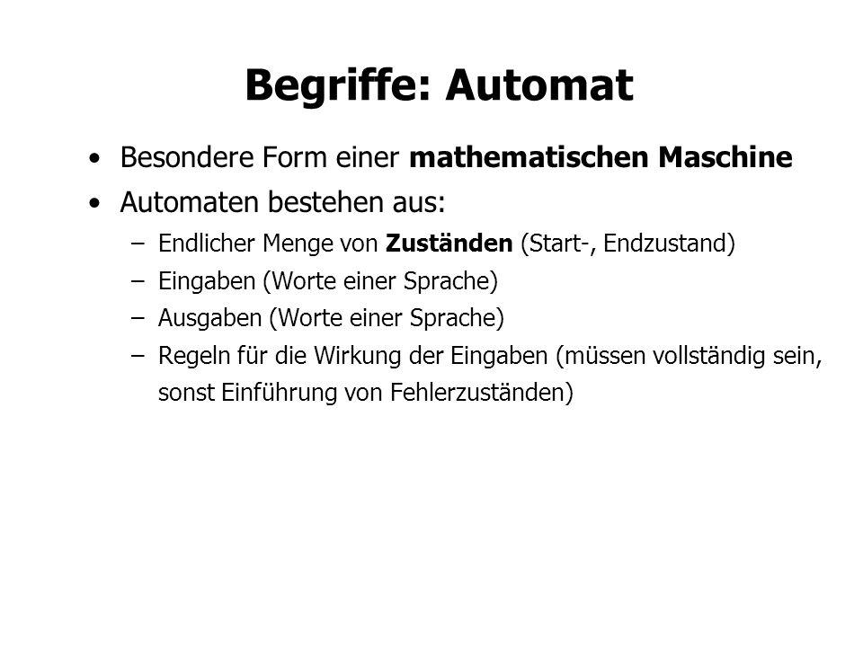 Begriffe: Automat Besondere Form einer mathematischen Maschine Automaten bestehen aus: –Endlicher Menge von Zuständen (Start-, Endzustand) –Eingaben (Worte einer Sprache) –Ausgaben (Worte einer Sprache) –Regeln für die Wirkung der Eingaben (müssen vollständig sein, sonst Einführung von Fehlerzuständen)