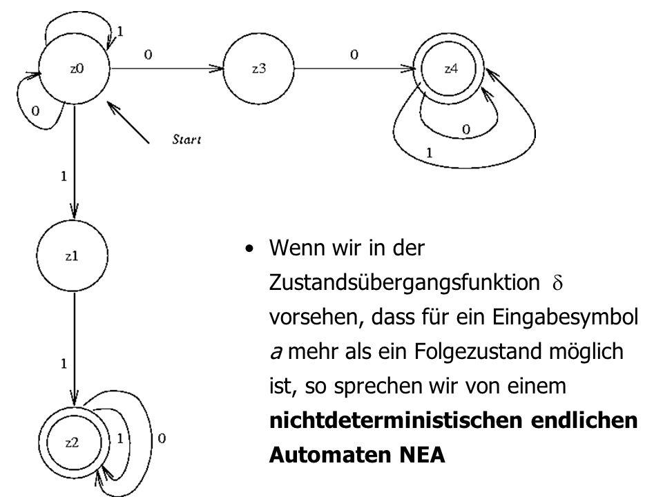 Wenn wir in der Zustandsübergangsfunktion vorsehen, dass für ein Eingabesymbol a mehr als ein Folgezustand möglich ist, so sprechen wir von einem nichtdeterministischen endlichen Automaten NEA