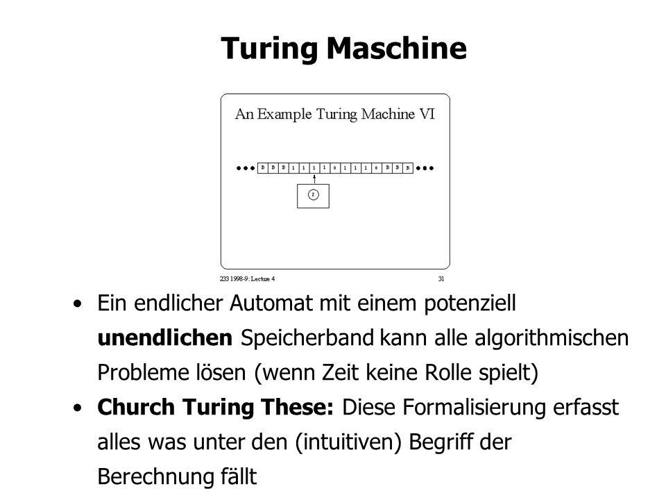 Turing Maschine Ein endlicher Automat mit einem potenziell unendlichen Speicherband kann alle algorithmischen Probleme lösen (wenn Zeit keine Rolle spielt) Church Turing These: Diese Formalisierung erfasst alles was unter den (intuitiven) Begriff der Berechnung fällt