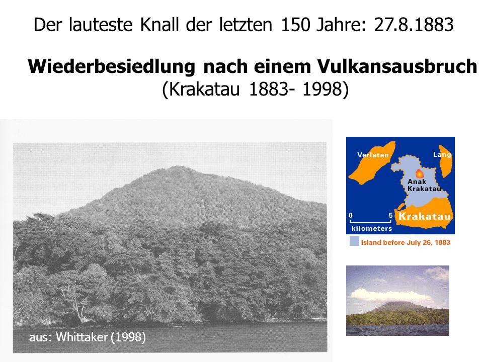 Wiederbesiedlung nach einem Vulkansausbruch (Krakatau 1883- 1998) aus: Whittaker (1998) Der lauteste Knall der letzten 150 Jahre: 27.8.1883