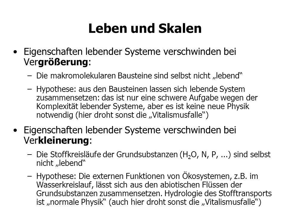 Leben und Skalen Eigenschaften lebender Systeme verschwinden bei Vergrößerung: –Die makromolekularen Bausteine sind selbst nicht lebend –Hypothese: aus den Bausteinen lassen sich lebende System zusammensetzen: das ist nur eine schwere Aufgabe wegen der Komplexität lebender Systeme, aber es ist keine neue Physik notwendig (hier droht sonst die Vitalismusfalle) Eigenschaften lebender Systeme verschwinden bei Verkleinerung: –Die Stoffkreisläufe der Grundsubstanzen (H 2 O, N, P,...) sind selbst nicht lebend –Hypothese: Die externen Funktionen von Ökosystemen, z.B.