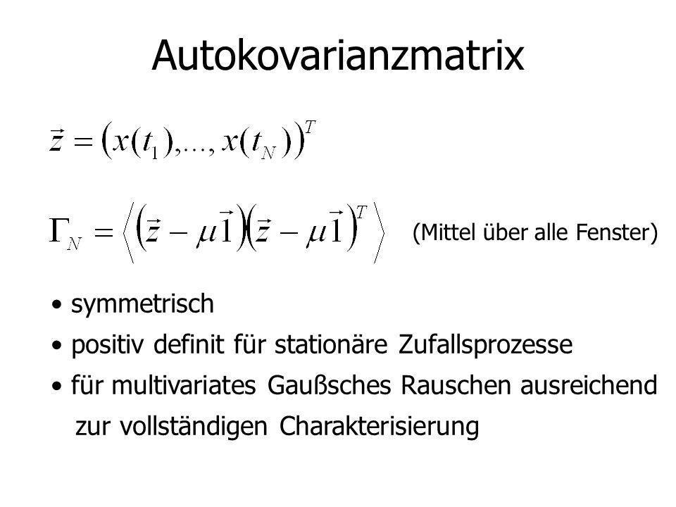 Autokovarianzmatrix symmetrisch positiv definit für stationäre Zufallsprozesse für multivariates Gaußsches Rauschen ausreichend zur vollständigen Char