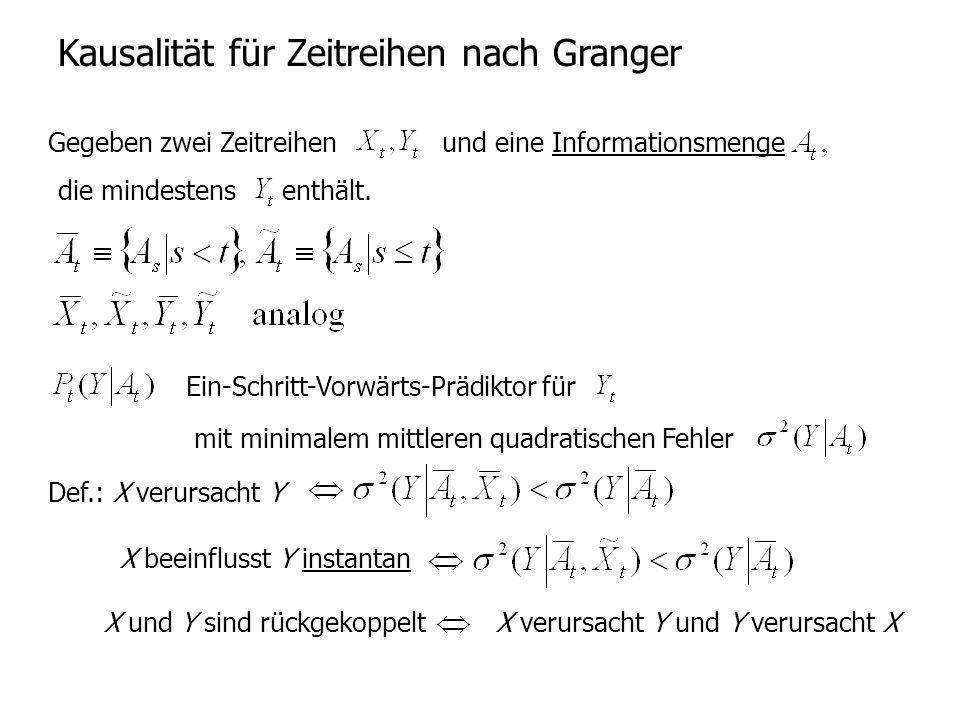 Kausalität für Zeitreihen nach Granger Gegeben zwei Zeitreihen und eine Informationsmenge die mindestensenthält. Ein-Schritt-Vorwärts-Prädiktor für mi