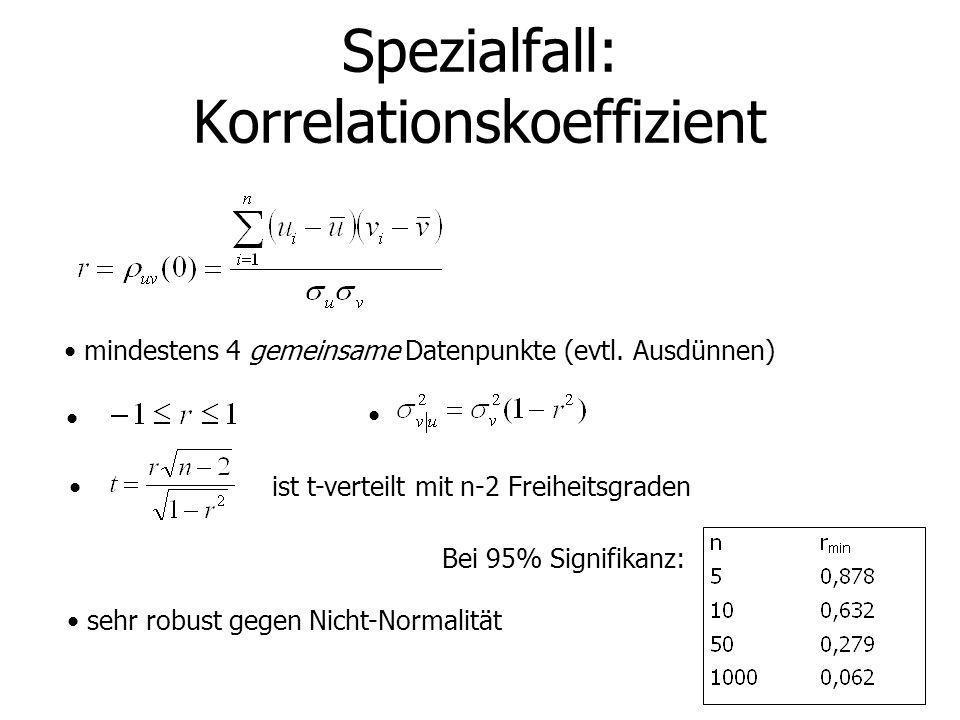 Spezialfall: Korrelationskoeffizient mindestens 4 gemeinsame Datenpunkte (evtl. Ausdünnen) ist t-verteilt mit n-2 Freiheitsgraden Bei 95% Signifikanz: