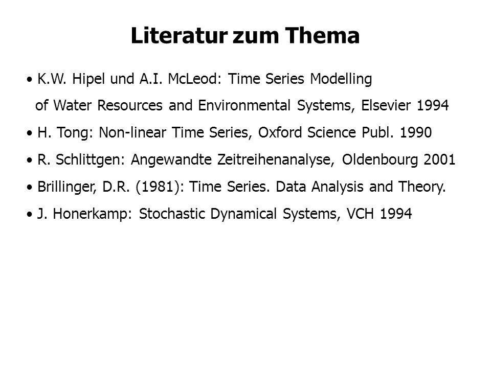 Literatur zum Thema K.W. Hipel und A.I. McLeod: Time Series Modelling of Water Resources and Environmental Systems, Elsevier 1994 H. Tong: Non-linear