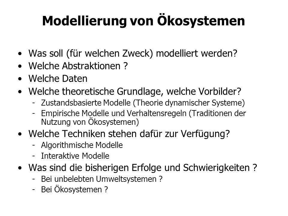 Modellierung von Ökosystemen Was soll (für welchen Zweck) modelliert werden? Welche Abstraktionen ? Welche Daten Welche theoretische Grundlage, welche