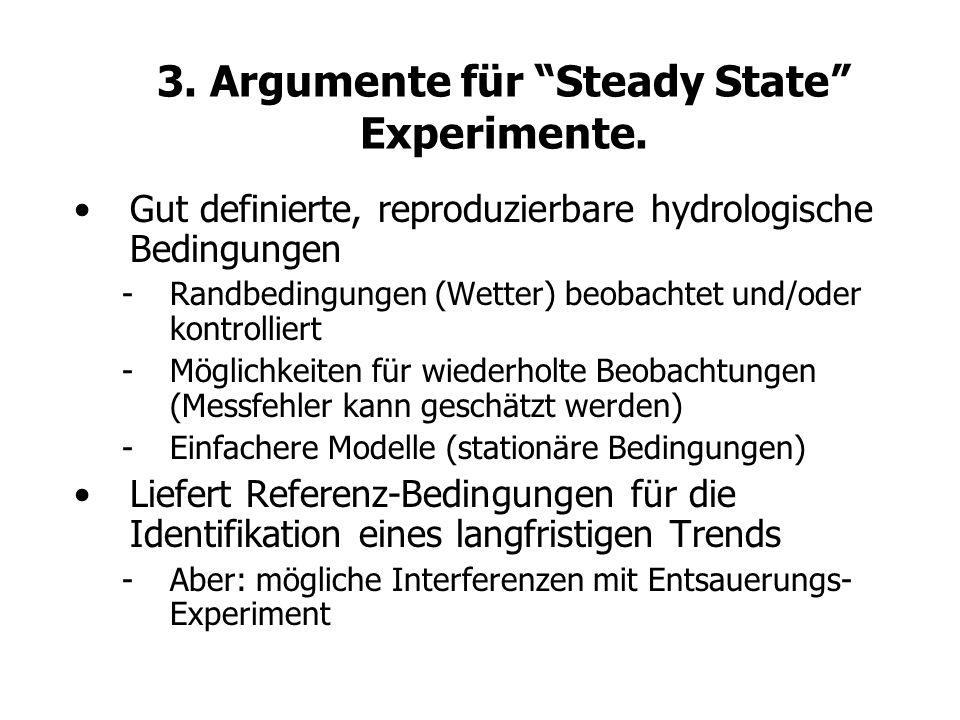 3. Argumente für Steady State Experimente. Gut definierte, reproduzierbare hydrologische Bedingungen -Randbedingungen (Wetter) beobachtet und/oder kon