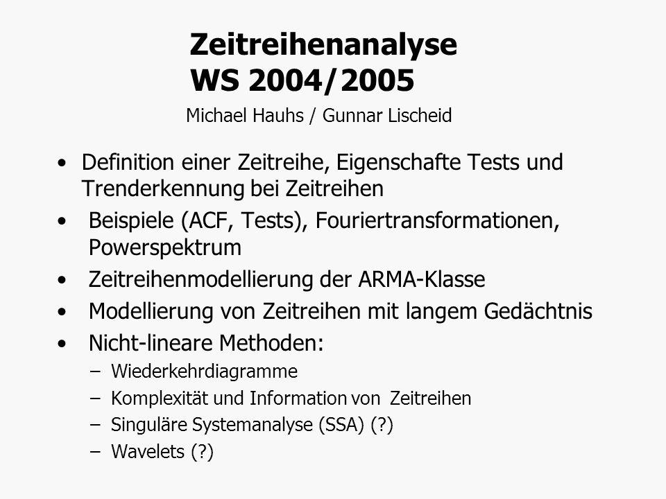 Zeitreihenanalyse WS 2004/2005 Michael Hauhs / Gunnar Lischeid Definition einer Zeitreihe, Eigenschafte Tests und Trenderkennung bei Zeitreihen Beispi