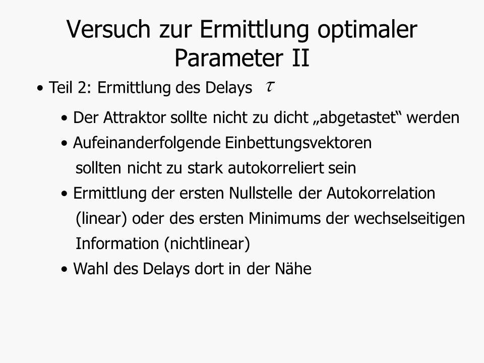 Versuch zur Ermittlung optimaler Parameter II Teil 2: Ermittlung des Delays Der Attraktor sollte nicht zu dicht abgetastet werden Aufeinanderfolgende